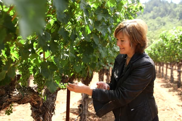 Co-founder of Wine Ring, Pam Dillon, at Staglin Family Vineyard in Rutherford, CA
