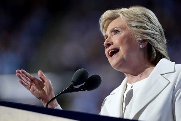 Democratic presidential candidate Hillary Clinton delivers remarks during the fourth day of the Democratic National Convention at the Wells Fargo Center, July 28, 2016 in Philadelphia, Pennsylvania.