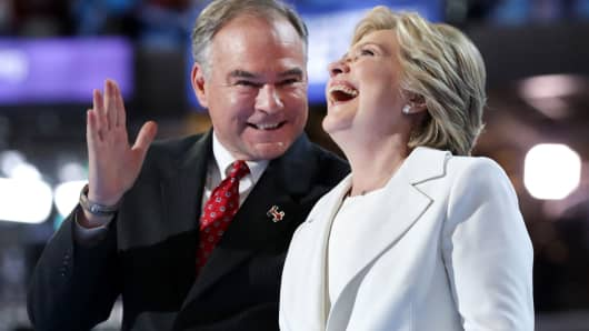 Democratic presidential candidate Hillary Clinton and US Vice President nominee Tim Kaine on the fourth day of the Democratic National Convention at the Wells Fargo Center, July 28, 2016 in Philadelphia.
