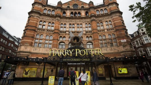 The front of the Palace Theatre promotes its new show 'Harry Potter and the Cursed Child' in London.