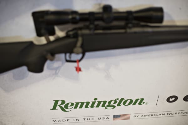 A bolt action rifle sits on display in the Remington Arms Co. LLC booth on the exhibition floor of the 144th National Rifle Association (NRA) Annual Meetings and Exhibits on April 11, 2015.