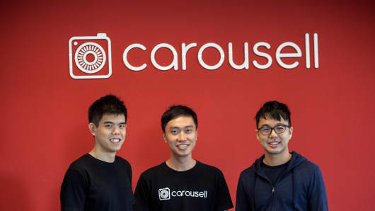 Carousell founders Quek Siu Rui, Lucas Ngoo and Marcus Tan. The Singapore-based startup raised $35 million in Series B funding and plans to use the funds to expand into other markets.