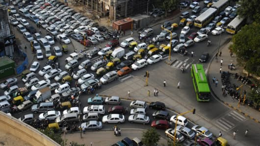 Traffic in New Delhi.
