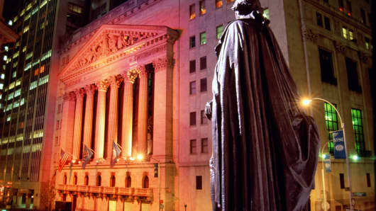 New York Stock Exchange at night, exterior