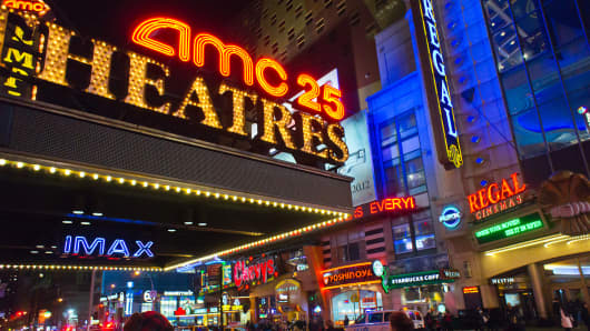 The AMC 25 and Regal Cinemas on 42nd Street in Times Square in New York.