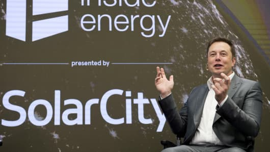 Elon Musk, Chairman of SolarCity and CEO of Tesla Motors, speaks at SolarCity's Inside Energy Summit in Manhattan.