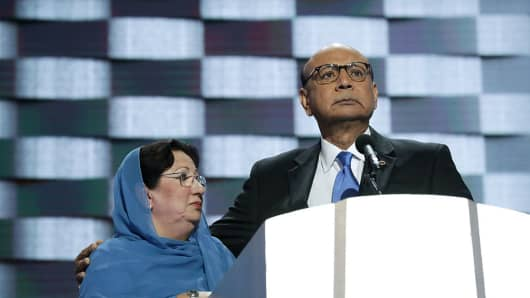 Khizr Khan, father of deceased U.S. Army Capt. Humayun S. M. Khan, with his wife Ghazala Khan.