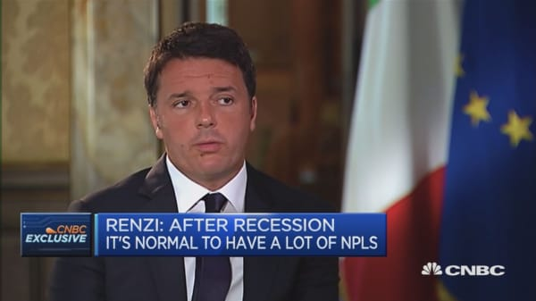 Growth is best way to solve NPL problem: Matteo Renzi
