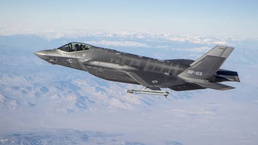 An F-35A conducts testing with a short-range air-to-missle flying over the skies of California.