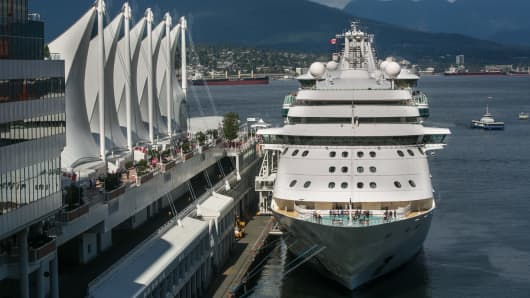 The Royal Caribbean cruise ship 'Radiance of the Seas' is berthed at Canada Place on July 1, 2016, in Vancouver, British Columbia, Canada.
