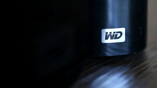 The Western Digital logo is displayed on an external hard drive.