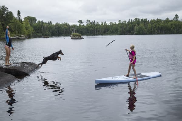 On a lake in Minnesota. a dog jumps for a stick as a girl on a paddle board watches.