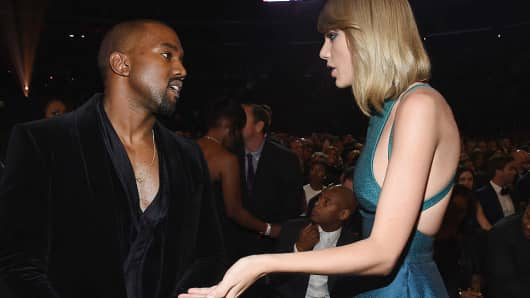 Recording Artists Kanye West and Taylor Swift
