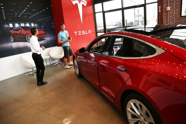 A Tesla Model S in a Tesla showroom in Brooklyn, New York