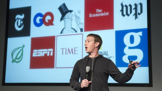 Mark Zuckerberg, chief executive officer and founder of Facebook Inc., speaks during an event at the company's headquarters in Menlo Park, California.