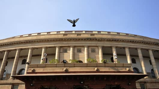 Parliament building in New Delhi, India.