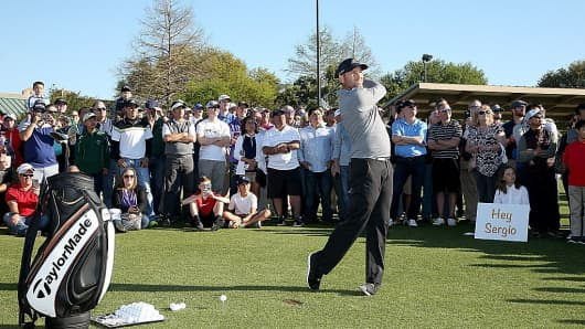 Sergio Garcia hosts a golf clinic at Golfsmith on March 21, 2016 in Austin, Texas. He is using TaylorMade equipment which is owned by Adidas.