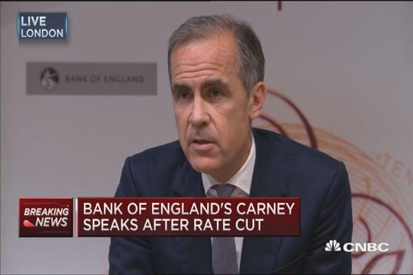 BOE's Carney speaks after rate cut
