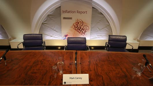 A name card for Governor of the Bank of England Mark Carney is pictured before he hosts a quarterly Inflation Report press conference at the Bank of England in central London, on August 4, 2016.