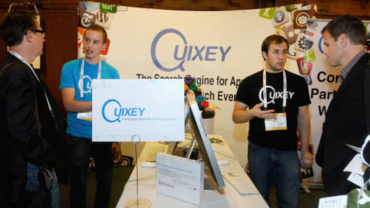 A Quixey display at a trade show.