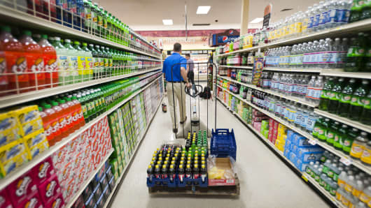 A PepsiCo Inc. employee delivers beverage products to a ShopRite Holdings Ltd. grocery store in Stratford, Connecticut.