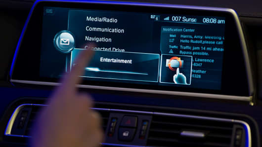 A BMW touch screen demonstrating the built-in infotainment system.