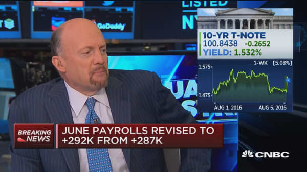Cramer reacts to July jobs data