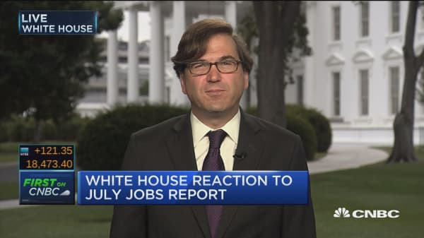 White House reaction to July jobs report