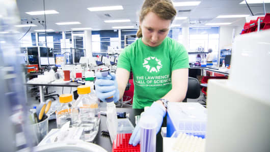 A lab researcher at the Gingko Bioworks lab in Boston.