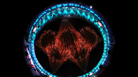 Fireworks explode to form the Olympic Rings during the Opening Ceremony of the Rio 2016 Olympic Games at Maracana Stadium on August 5, 2016 in Rio de Janeiro, Brazil.