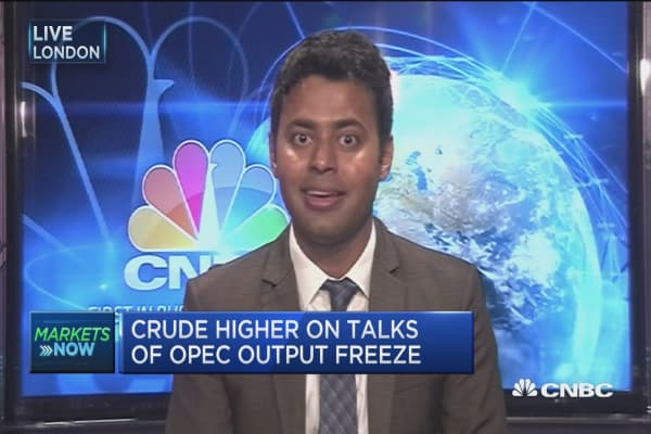 Oil prices higher on output freeze talks