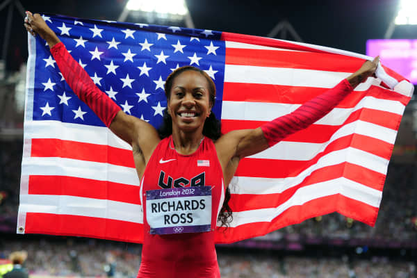 Sanya Richards-Ross of the United States celebrates after winning the gold medal in the women's 400m final on day nine of the London 2012 Olympic Games at the Olympic Stadium on August 5, 2012, in London.