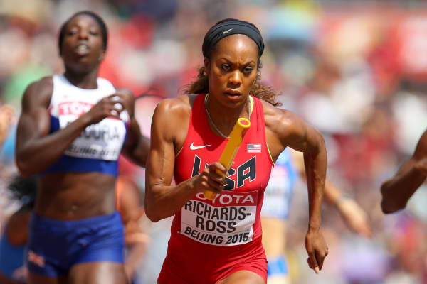 Sanya Richards-Ross of the United States competes in the Women's 4x400 Metres Relay heats during day eight of the 15th IAAF World Athletics Championships Beijing 2015 at Beijing National Stadium on August 29, 2015 in Beijing, China.