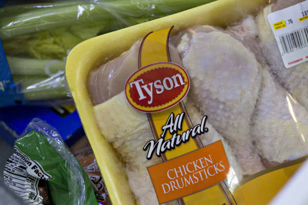 A package of Tyson Foods Inc. chicken is arranged for a photograph in Tiskilwa, Illinois.