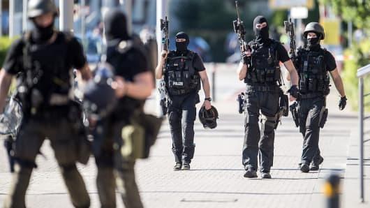 Heavily armed police in Viernheim, Germany