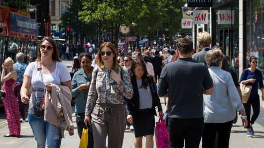 Shoppers on Oxford Street in London.