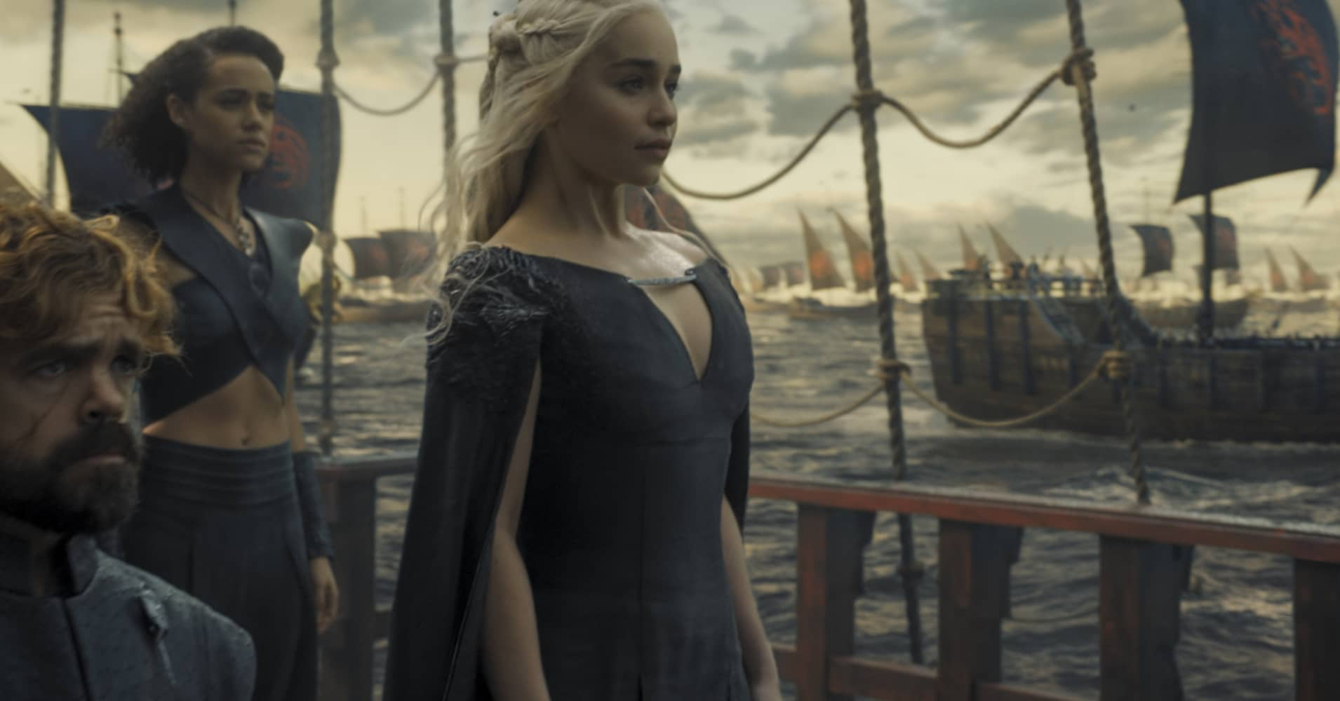 "Actors Peter Dinklage, Nathalie Emmanuel, Emilia Clarke in hit HBO show ""Game of Thrones"""