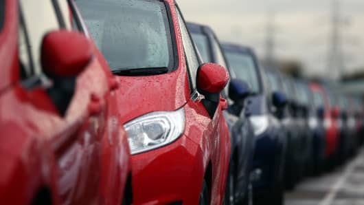 Cars are prepared for distribution at a Ford factory on January 13, 2015 in Dagenham, England.