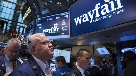 Wayfair IPO on the floor of the New York Stock Exchange