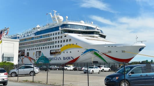 Norwegian Cruise Line's Norwegian Dawn at the Boston Cruise Terminal in Boston.