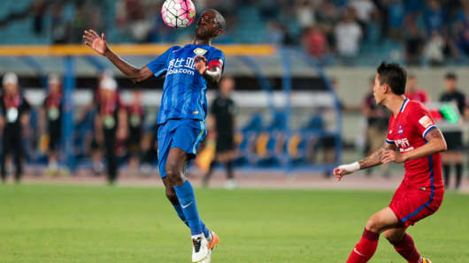 Ramires #7 of Jiangsu Suning drives the ball during the Chinese Super League match between Jiangsu Suning and Chongqing Lifan on June 19, 2016 in Nanjing, China.