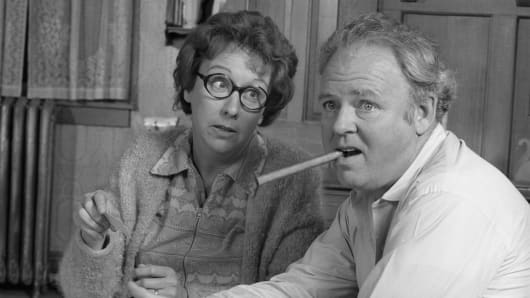 Jean Stapleton as Edith Bunker and Carroll O'Connor as Archie Bunker in 'All In The Family.'