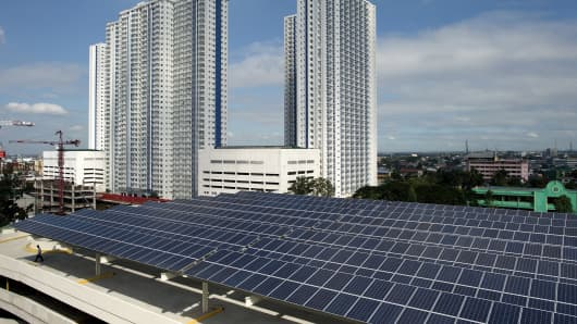 Solar panels at the roof deck of a mall in Manila.