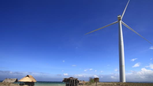 A windmill located in Bangui, Ilocos Norte, Philippines.
