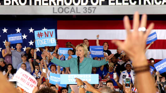 Democratic presidential nominee Hillary Clinton speaks to supporters about her plans for the economy and job creation during a rally at the International Brotherhood of Electrical Workers (IBEW) at the IBEW Local 357 Hall August 4, 2016 in Las Vegas, Nevada.