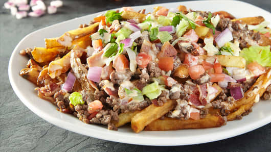 Loaded Spuds Cheeseburger platter at French Fry Heaven
