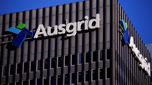 The logo for Australia's biggest electricity network Ausgrid adorns its headquarters building in central Sydney, Australia.