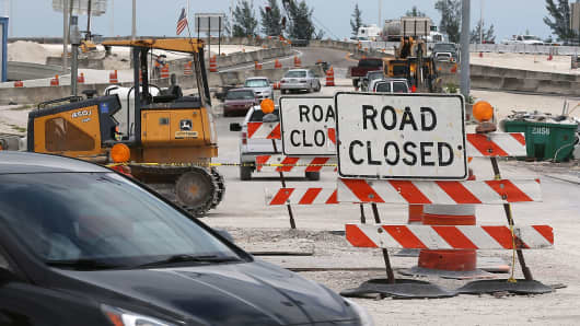 Construction work is seen at the 826 and 836 State Road Interchange in Miami.