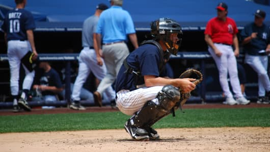 Bryce Harper during a Yankees' youth league game on July 14th, 2009