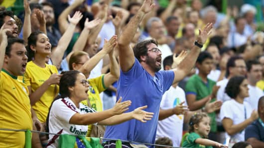 Fans cheer at the 2016 Rio Olympic Games